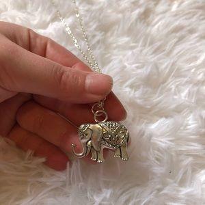 Long silver chain elephant pendant